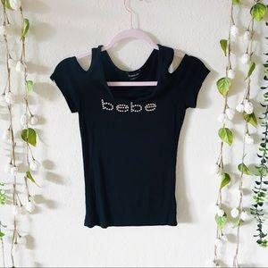 bebe | Cold Shoulder Tee with Embellished Logo